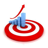 Business graph with rising arrow on red target Stock Image