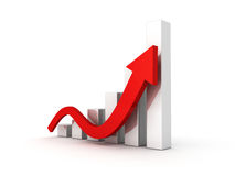 Business graph with rising up arrow Royalty Free Stock Photos