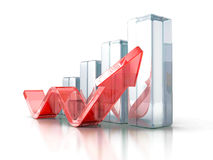 Business Graph With Rising Up Arrow. 3d Render Illustration Stock Photos