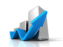 Business Graph With Rising Up Arrow Stock Photography