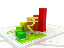 Indian Rupee with Business Graph in white background. Business graph with Rupee sign. Indian Rupee growth concept., Business Success. 3d rendering Royalty Free Stock Image