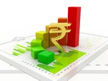 Indian Rupee with Business Graph in white background. Business graph with Rupee sign. Indian Rupee growth concept., Business Success. 3d rendering Royalty Free Stock Images