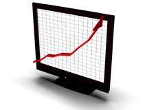 Business graph on screen Royalty Free Stock Images