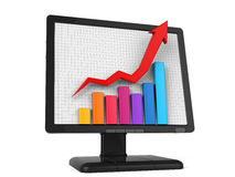 Business Graph on Screen Royalty Free Stock Image
