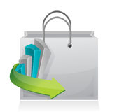 Business graph shopping bag illustration design. Over a white background Stock Images