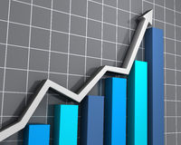 Business graph showing growth. 3D rendered image of a rising trend in statistics Royalty Free Stock Image