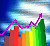 Business Graph Shows Corporate Trade And Graphs Stock Photo