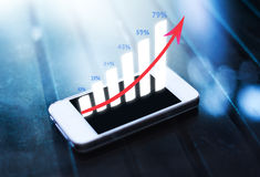 Business graph on smart phone Stock Image