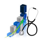 Business graph with a Stethoscope Royalty Free Stock Photo
