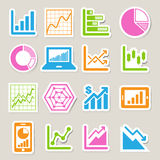 Business Graph sticker icon set Royalty Free Stock Images