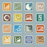 Business Graph sticker icon set. Illustration eps10 Stock Images