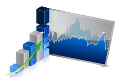 Business Graph with stocks showing profits Stock Photos