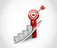 Business graph with a target and dart illustration Stock Photo
