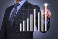 Business graph on touch screen Stock Photos