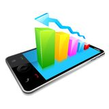 Business Graph on Touchscreen Mobile Screen Royalty Free Stock Photo