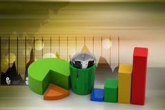 Business graph and trash box. In color background Royalty Free Stock Photography