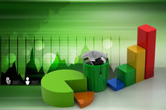 Business graph and trash box. In color background Royalty Free Stock Image