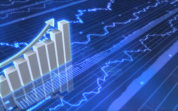Business Graph with Up Arrow. 3D image of an upward pointing arrow and a bar chart on stock graph Stock Photo