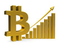 Business graph up with bitcoin sign. Gold business graph with arrow up and bitcoin sign represents the growth of bitcoin rate, three-dimensional rendering, 3D Stock Image