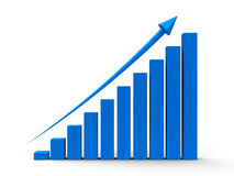 Business graph up. Blue business graph with blue arrow up, three-dimensional rendering Stock Photography