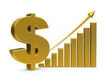 Business graph up with dollar sign. Gold business graph with arrow up and dollar sign represents the growth of dollar rate, three-dimensional rendering, 3D Stock Images