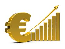 Business graph up with euro sign. Gold business graph with arrow up and euro sign represents the growth of euro rate, three-dimensional rendering, 3D Royalty Free Stock Images