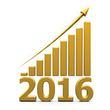Business graph up with 2016. Gold business graph with gold arrow up represents the growth in 2016 year, three-dimensional rendering Stock Images