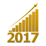 Business graph up with 2017. Gold business graph with gold arrow up represents the growth in 2017 year, three-dimensional rendering, 3D illustration Stock Illustration
