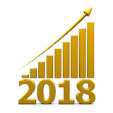 Business graph up with 2018. Gold business graph with gold arrow up represents the growth in 2018 year, three-dimensional rendering, 3D illustration Stock Photo