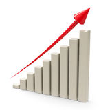 Business graph up  2. Business graph with red arrow up represents the growth, three-dimensional rendering, 3D illustration Royalty Free Stock Image