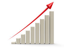 Business graph up  3. Business graph with red arrow up represents the growth, three-dimensional rendering, 3D illustration Stock Image