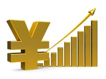 Business graph up with yen sign. Gold business graph with arrow up and yen sign represents the growth of yen rate, three-dimensional rendering, 3D illustration Royalty Free Stock Photos