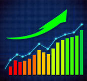 Business graph and upward directed arrows Royalty Free Stock Photography