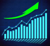 Business graph and upward directed arrows Royalty Free Stock Photo