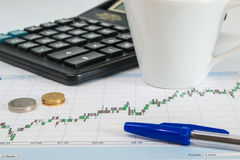 Business graph on a white background with calculator, cup of coffee, pen and money royalty free stock photography