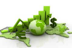 Business Graph With Earth Stock Photo