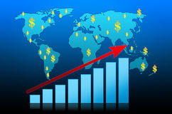 Business Graph on world background Royalty Free Stock Photo