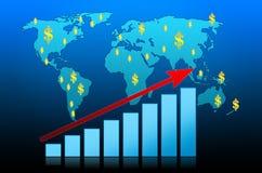 Business Graph on world background. Achievement analysing arrow aspirations bar blue bull royalty free illustration