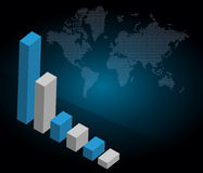 Business graph with world background Royalty Free Stock Image