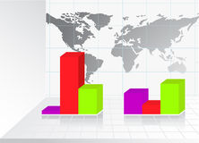 Business Graph with World map Royalty Free Stock Photo