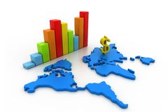 Business graph with world map Stock Images