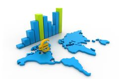 Business graph with world map Stock Image