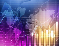 Business graph world map Royalty Free Stock Images