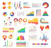 Business graphics and charts. Bar charts and pie charts, forms of business graphics for pictorial representation of data. Vector flat style cartoon Stock Images