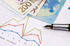 Business graphics with euro notes.  Stock Photography