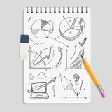 Business graphics pencil sketches on realistic notebook with eraser and pencil - brainstorm concept. Sketch business graphic doodle, pencil drawing diagram on Stock Photography