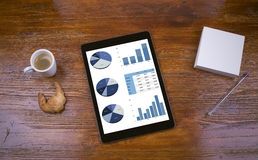 Business graphics tablet next to breakfast Royalty Free Stock Photo