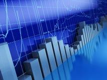 Business graphs. 3d illustration of business graphs background, blue colors Stock Images