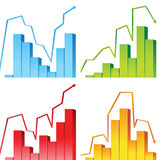 Business graphs. 4 colorful business graphs over white background Royalty Free Stock Photos