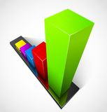 Business graphs. 3d business colorful graphs. Vector illustration Stock Photography